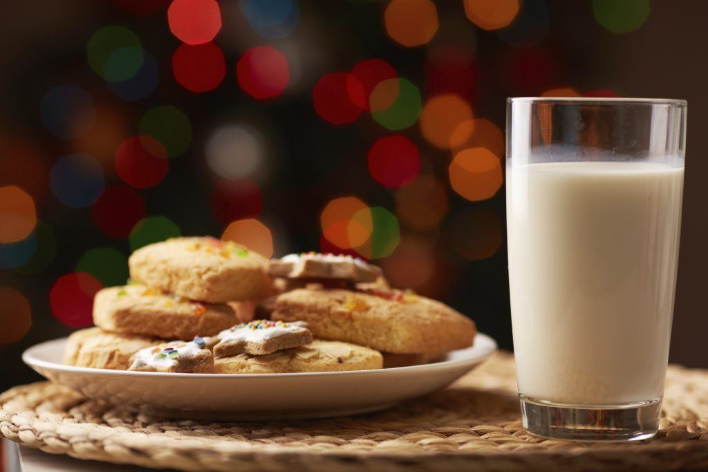 Tasty cookies on plate and a glass of milk